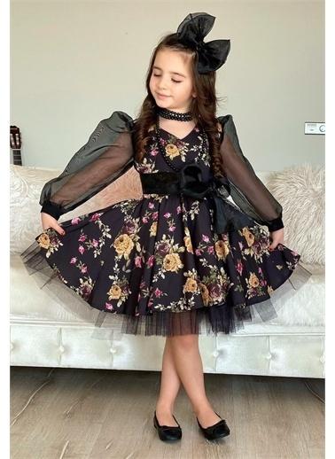 Riccotarz Kız Çocuk Black Flowers Tütülü Elbise Siyah